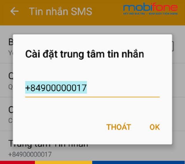 Cài đặt số trung tâm tin nhắn để nhắn tin thành công